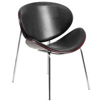 Flash Furniture SD-2268A-7-GG Mahogany Bentwood Leisure Reception Chair with Black Leather Upholstery