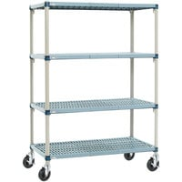 Metro Q366BG3 MetroMax Q Open Grid Shelf Cart with Rubber Casters - 18 inch x 60 inch x 67 inch