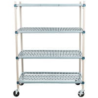 Metro Q556BG3 MetroMax Q Open Grid Shelf Cart with Rubber Casters - 24 inch x 48 inch x 67 inch