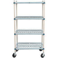 Metro Q536BG3 MetroMax Q Open Grid Shelf Cart with Rubber Casters - 24 inch x 36 inch x 67 inch