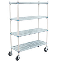 Metro Q356BG3 MetroMax Q Open Grid Shelf Cart with Rubber Casters - 18 inch x 48 inch x 67 inch