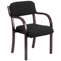 Flash Furniture SD-2052A-MAH-GG Contemporary Black Fabric Wood Side Chair with Mahogany Frame