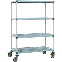 Metro Q436BG3 MetroMax Q Open Grid Shelf Cart with Rubber Casters - 21 inch x 36 x 67 inch