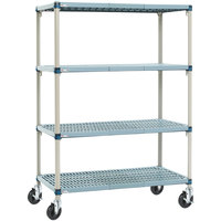 Metro Q466BG3 MetroMax Q Open Grid Shelf Cart with Rubber Casters - 21 inch x 60 inch x 67 inch