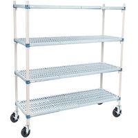 Metro Q466BG3 MetroMax Q Open Grid Shelf Cart with Rubber Casters - 21 inch x 60 inch x 67 inch