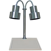 Hanson Heat Lamps DLM/WB/200/ST/CH Dual Lamp 18 inch x 20 inch Chrome Carving Station with White Synthetic Granite Base