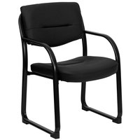 Flash Furniture BT-510-LEA-BK-GG Open Back Black Leather Executive Side Chair with Sled Base