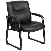 Flash Furniture GO-2136-GG 500 lb. Capacity Big & Tall Black Leather Executive Side Chair with Sled Base