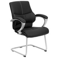 Flash Furniture H-9637L-3-SIDE-GG Black Leather Executive Side Chair with Padded Arms and Sled Base