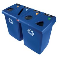 Rubbermaid 1792372 Glutton Blue Recycling Station - 92 Gallon