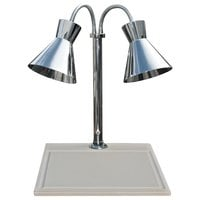Hanson Heat Lamps DLM/WB/300/ST/CH Dual Lamp 18 inch x 20 inch Chrome Carving Station with White Synthetic Granite Base