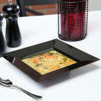 Visions Florence 12 oz. Black Square Plastic Bowl - 10/Pack