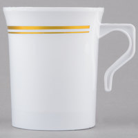 Silver Visions 8 oz. White Plastic Coffee Mug with Gold Bands - 12/Pack