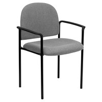 Flash Furniture BT-516-1-GY-GG Gray Fabric Stackable Side Chair with Arms