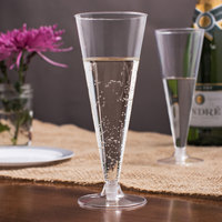 Visions 6 oz. Clear 2-Piece Plastic Cone Champagne Flute   - 10/Pack