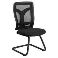 Black Mesh Side Chair with Mesh Seat and Adjustable Lumbar Support