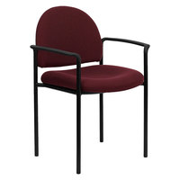 Flash Furniture BT-516-1-BY-GG Burgundy Fabric Stackable Side Chair with Arms