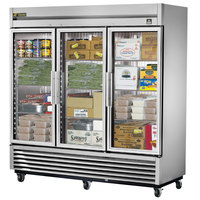 True TS-72FG 78 inch Stainless Steel Three Section Glass Door Reach In Freezer