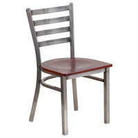 Flash Furniture XU-DG694BLAD-CLR-MAHW-GG Clear-Coated Ladder Back Metal Restaurant Chair with Mahogany Wood Seat