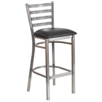 Flash Furniture XU-DG697BLAD-CLR-BAR-BLKV-GG Clear-Coated Ladder Back Metal Restaurant Barstool with Black Vinyl Seat