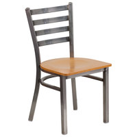 Flash Furniture XU-DG694BLAD-CLR-NATW-GG Clear-Coated Ladder Back Metal Restaurant Chair with Natural Wood Seat