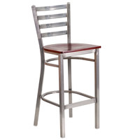 Flash Furniture XU-DG697BLAD-CLR-BAR-MAHW-GG Clear-Coated Ladder Back Metal Restaurant Barstool with Mahogany Wood Seat