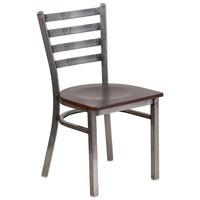 Flash Furniture XU-DG694BLAD-CLR-WALW-GG Clear-Coated Ladder Back Metal Restaurant Chair with Walnut Wood Seat