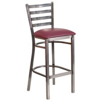Flash Furniture XU-DG697BLAD-CLR-BAR-BURV-GG Clear-Coated Ladder Back Metal Restaurant Barstool with Burgundy Vinyl Seat