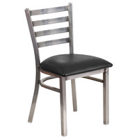 Clear-Coated Ladder Back Metal Restaurant Chair with Black Vinyl Seat