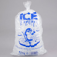 Choice 10 lb. Clear Wicketed Ice Bag with Ice Print and Handle   - 1000/Case