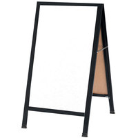 Aarco 42 inch x 24 inch Black Aluminum A-Frame Sign Board with White Marker Board
