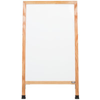 Aarco A-5 42 inch x 24 inch Oak A-Frame Sign Board with White Marker Board