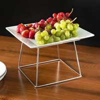 Acopa 12 inch Square China Plate and 7 inch Stainless Steel Display Stand