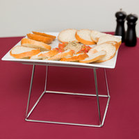 Core 12 inch Square China Plate and 7 inch Stainless Steel Display Stand