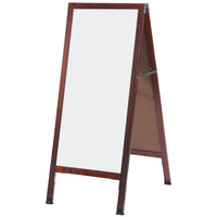 Aarco MA-35 42 inch x 18 inch Cherry A-Frame Sign Board with White Marker Board