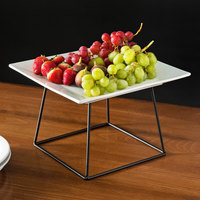 Acopa 12 inch Square China Plate and 7 inch Black Display Stand Set