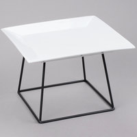 Core 12 inch Square China Plate and 7 inch Black Display Stand Set