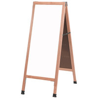 Aarco A-35 42 inch x 18 inch Oak A-Frame Sign Board with White Marker Board