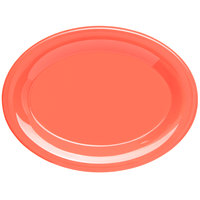 Carlisle 4308652 Durus 9 1/2 inch Sunset Orange Oval Melamine Platter - 24/Case