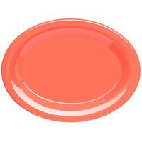 Carlisle 4308652 Durus 9 1/2 inch Sunset Orange Oval Melamine Platter - 24/Case