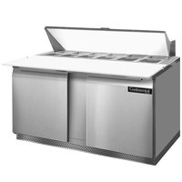 Continental Refrigerator SW60-16C-FB 60 inch 2 Door Cutting Top Front Breathing Refrigerated Sandwich Prep Table