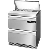 Continental Refrigerator SW27-8-FB-D 27 inch 2 Drawer Front Breathing Refrigerated Sandwich Prep Table