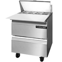 Continental Refrigerator SW27-8C-D 27 inch 2 Drawer Cutting Top Refrigerated Sandwich Prep Table