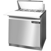 Continental Refrigerator SW32-8C-FB 32 inch 1 Door Cutting Top Front Breathing Refrigerated Sandwich Prep Table