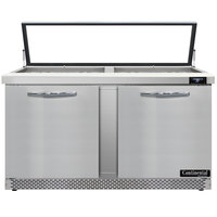 Continental Refrigerator SW60-24M-HGL-FB 60 inch 2 Door Mighty Top Front Breathing Hinged Glass Lid Refrigerated Sandwich Prep Table