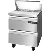 Continental Refrigerator SW27-8-D 27 inch 2 Drawer Refrigerated Sandwich Prep Table