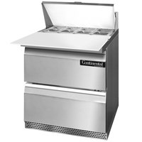Continental Refrigerator SW27-8C-FB-D 27 inch 2 Drawer Cutting Top Front Breathing Refrigerated Sandwich Prep Table