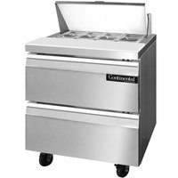Continental Refrigerator SW32-8-D 32 inch 2 Drawer Refrigerated Sandwich Prep Table