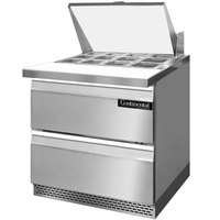 Continental Refrigerator SW32-12M-FB-D 32 inch Mighty Top Front Breathing Sandwich / Salad Prep Refrigerator with Two Drawers