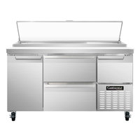 Continental Refrigerator CPA60-D 60 inch Pizza Prep Table with Two Drawers, One Full Size, and One Half Door